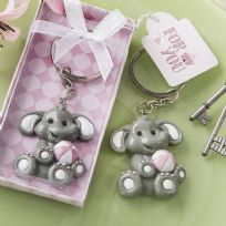 Adorable Pink Baby Elephant Key Ring Favour